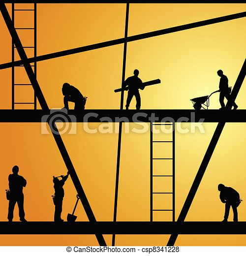 praca, zbudowanie, wektor, pracownik, ilustracja - csp8341228