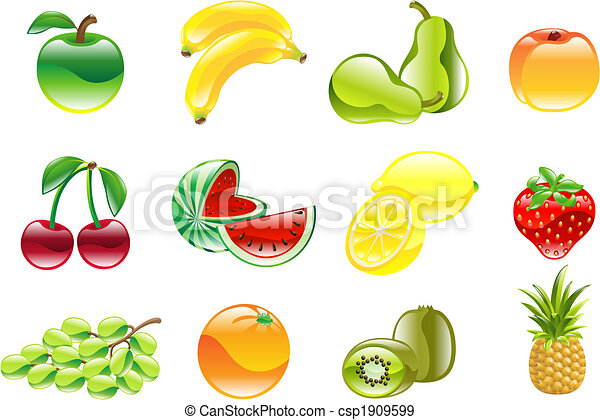 prachtig, set, glanzend, fruit, pictogram - csp1909599