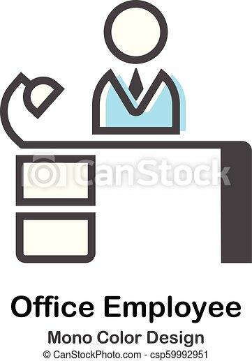 pracownik, mono, biuro, ilustracja, kolor - csp59992951