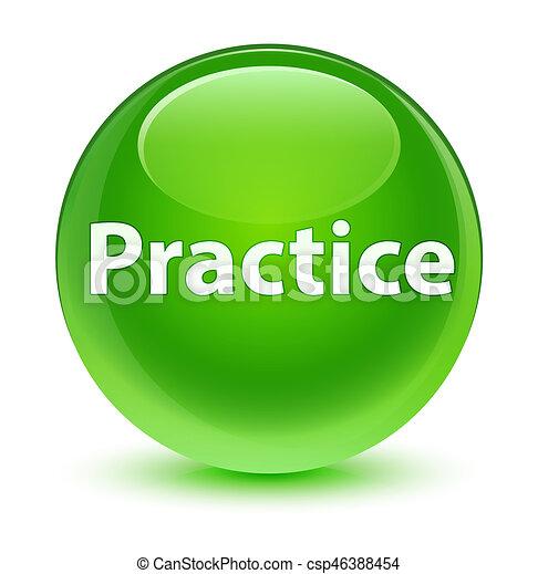 Practice glassy green round button - csp46388454