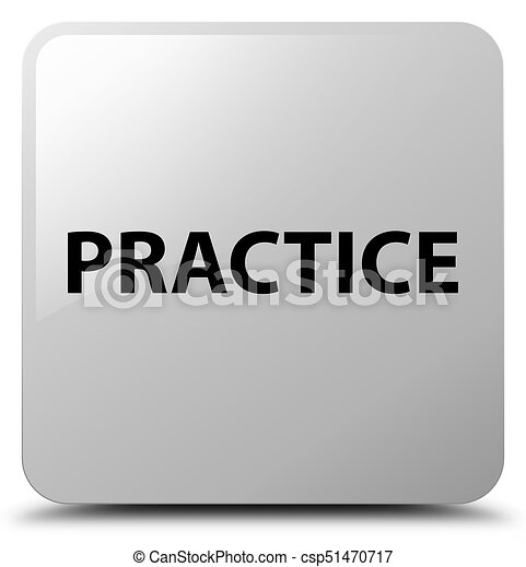 Practice white square button - csp51470717