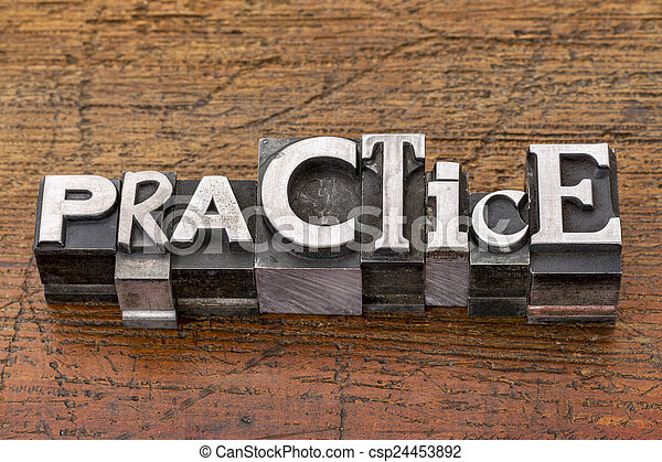practice word in metal type - csp24453892
