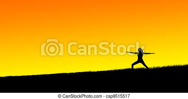 practicing yoga - csp9515517