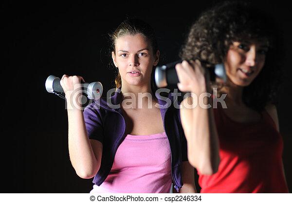 pracujący, klub, dziewczyny, dwa, stosowność, poza - csp2246334