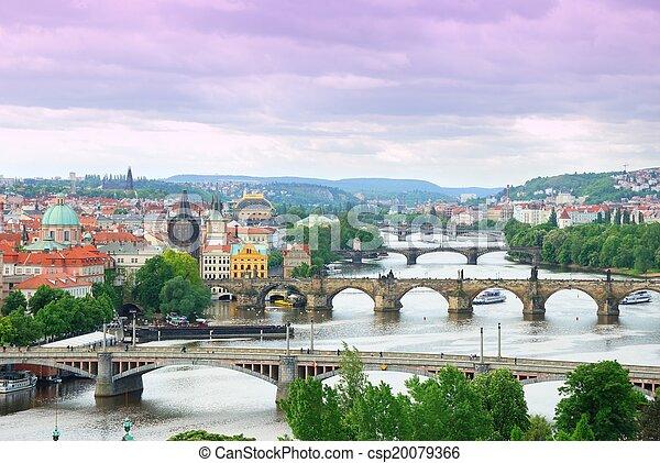 Prague and its multiple bridges across Vltava river, Czech Republic - csp20079366