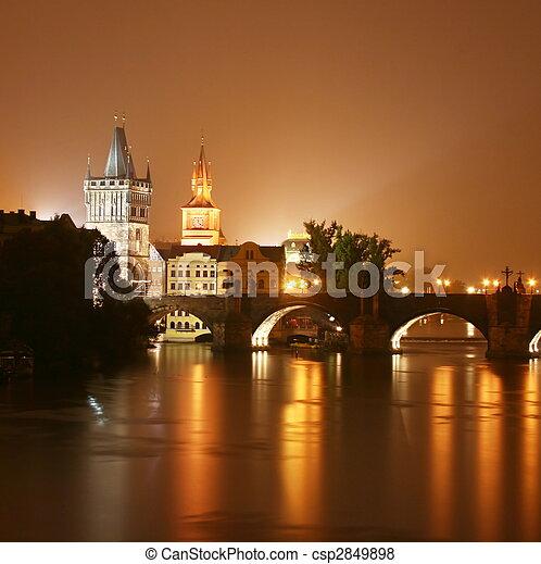 Prague at night - csp2849898