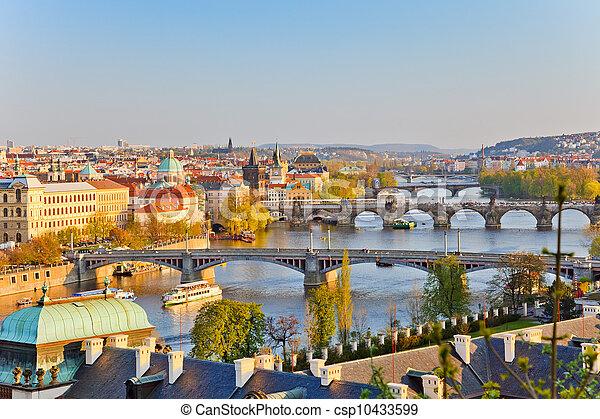 Prague at sunset - csp10433599