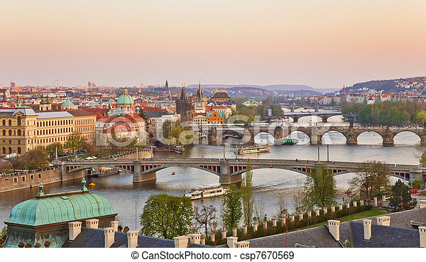 Prague at sunset - csp7670569