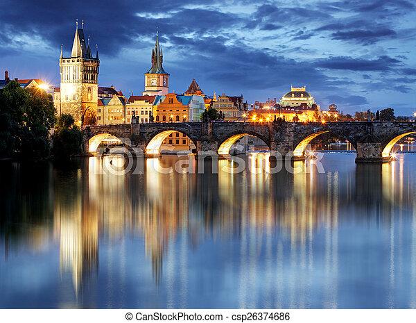 Prague bridge at night - csp26374686