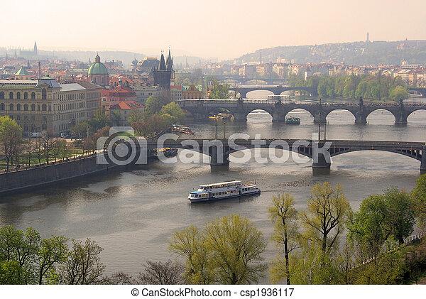 Prague bridges aerial view 02 - csp1936117