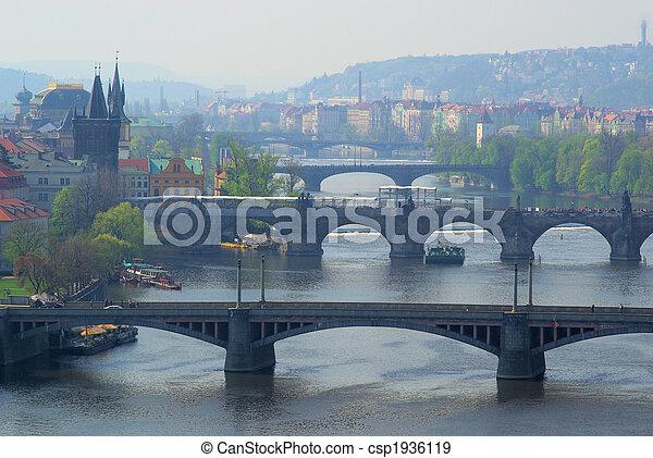 Prague bridges aerial view 04 - csp1936119
