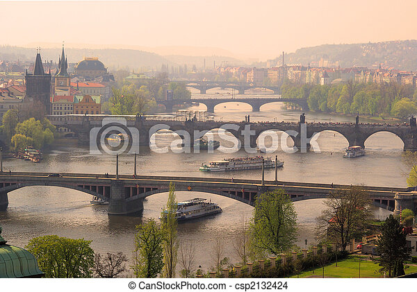 Prague bridges aerial view 08 - csp2132424