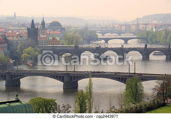 Prague bridges aerial view 10 - csp2443971