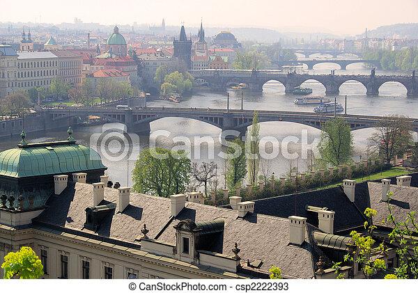 Prague bridges aerial view 12 - csp2222393