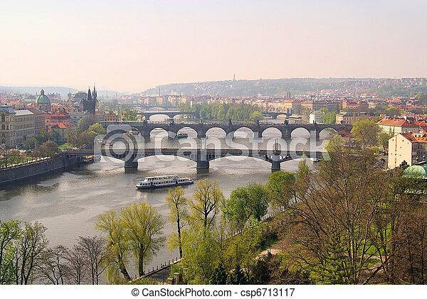 Prague bridges aerial view 14 - csp6713117