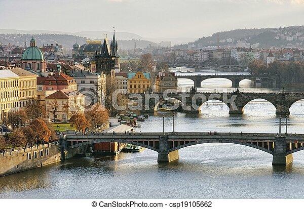 Prague bridges aerial view - csp19105662
