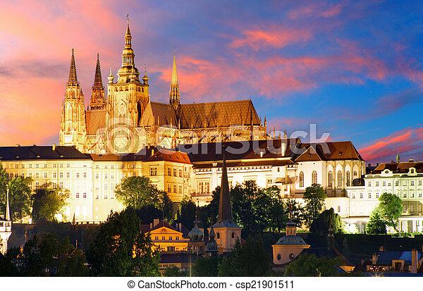 Prague castle at night - csp21901511