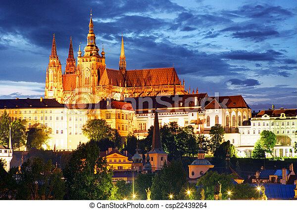 Prague castle at night - csp22439264