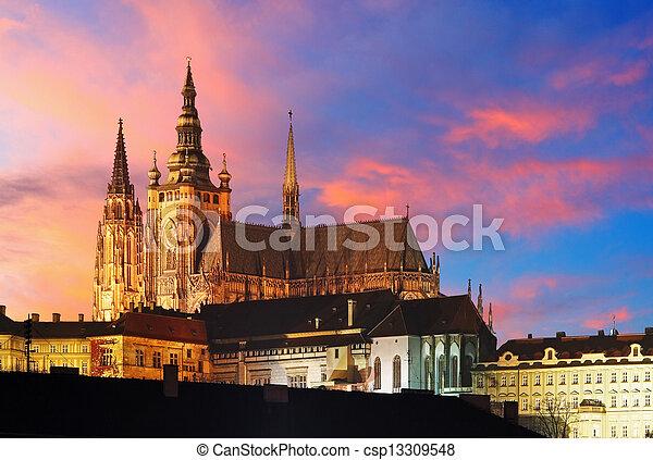Prague Castle at sunset - Czech republic - csp13309548
