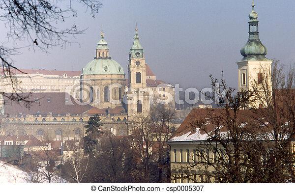 Prague church tower - csp0005307