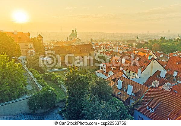 Prague City Morning Skyline - csp22363756