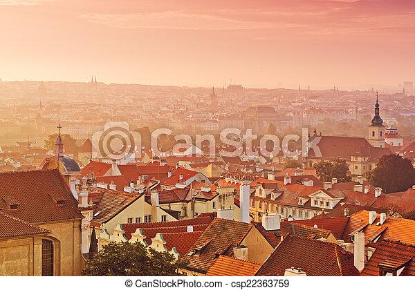 Prague City Morning Skyline - csp22363759