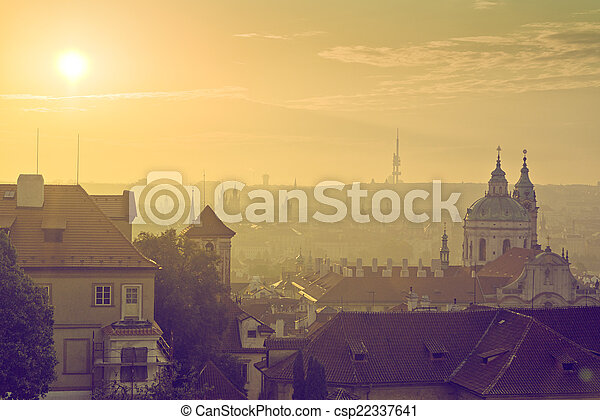 Prague City Morning Skyline - csp22337641