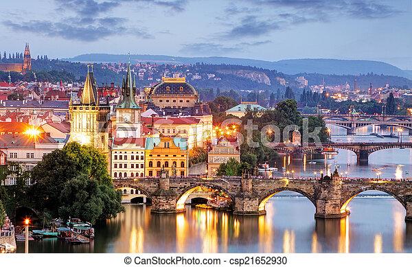 Prague cityscape at night - csp21652930