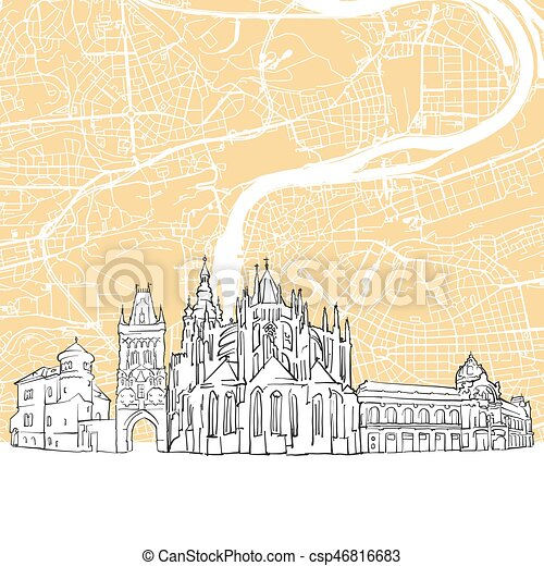 Prague czech republic skyline map, one color scalable vector art ...