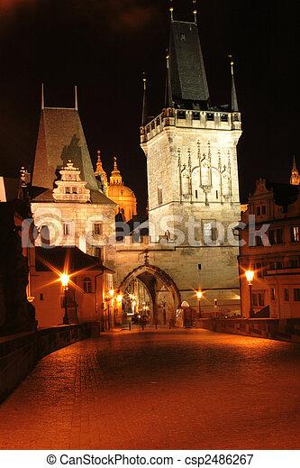 Prague in the night - csp2486267