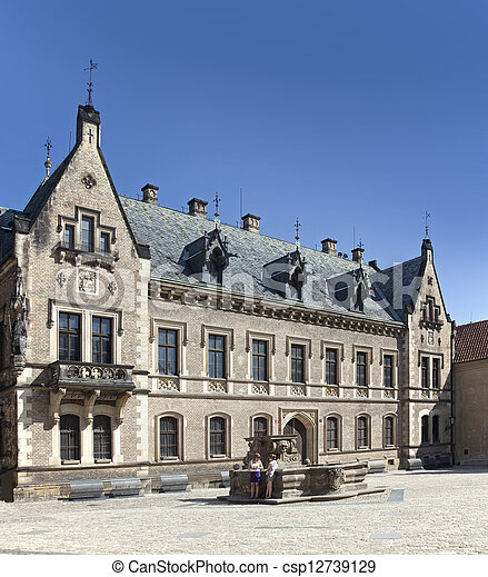 Prague - New Provost Residence and historic Caratti Fountain at Prague Castle  - csp12739129