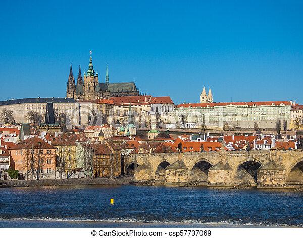 Prague panorama with Vltava river, Czech Republic - csp57737069