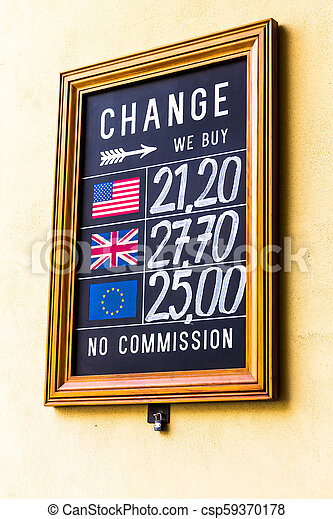 Prague, sign currency change office, Czech Republic - csp59370178