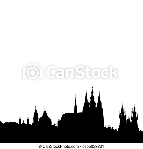 Prague skyline - famous landmarks - csp5039281