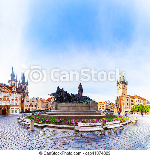 Prague. Tyn Cathedral of the Virgin Mary at sunrise. - csp41074823