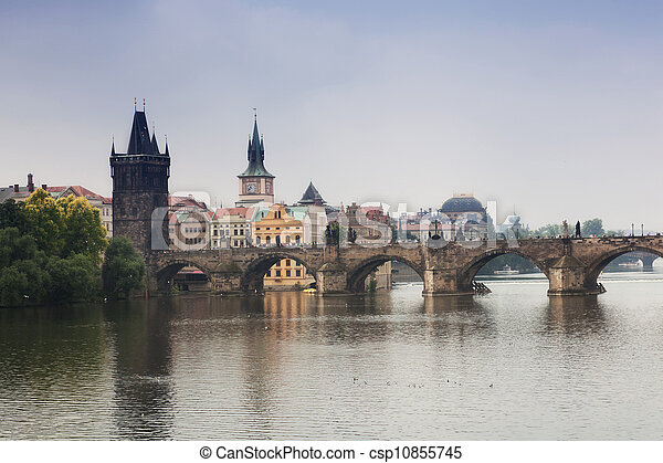 Prague, view of the Vltava River and bridges in a morning fog - csp10855745