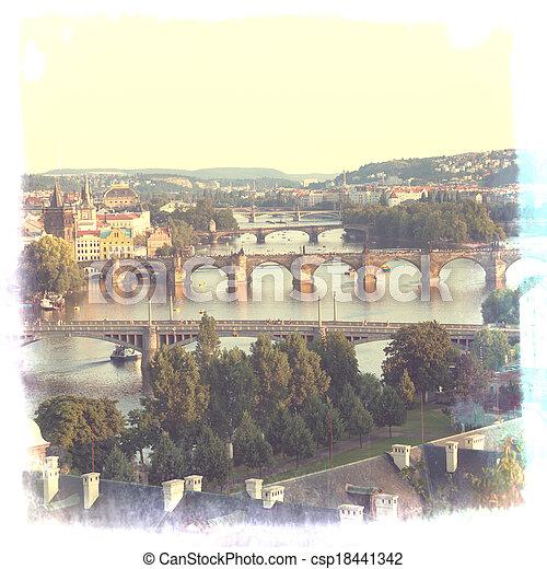 Prague, view of the Vltava River and bridges in a morning fog - csp18441342