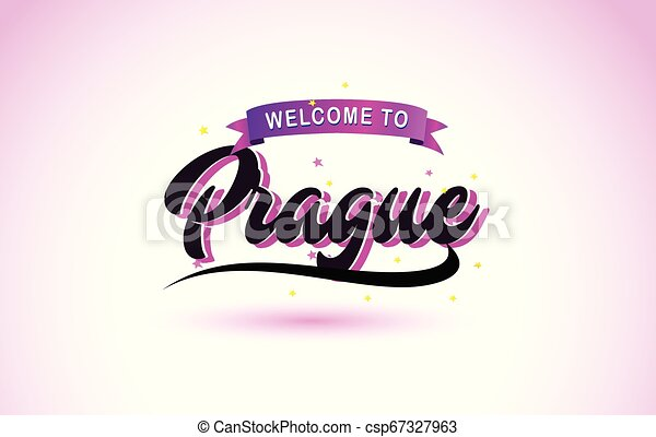 Prague Welcome to Creative Text Handwritten Font with Purple Pink Colors Design. - csp67327963