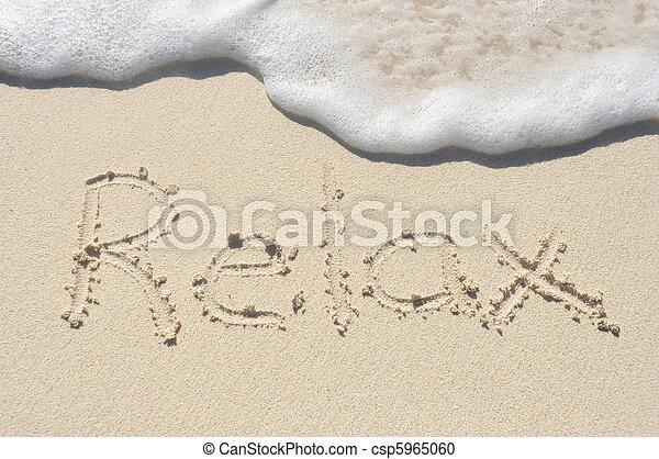praia areia, escrito, relaxe - csp5965060