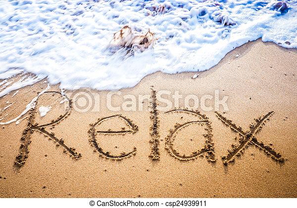 praia areia, escrito, relaxe - csp24939911