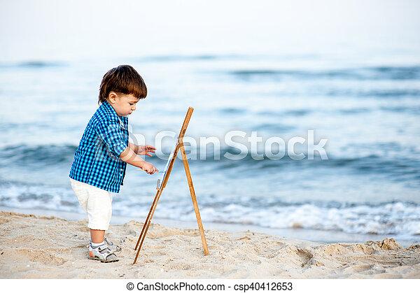 praia, delinear, criança - csp40412653