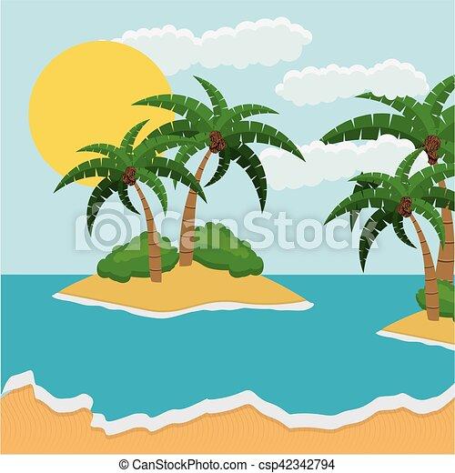 Praia Desenho Coloridos Paisagem Bonito Ao Ar Livre