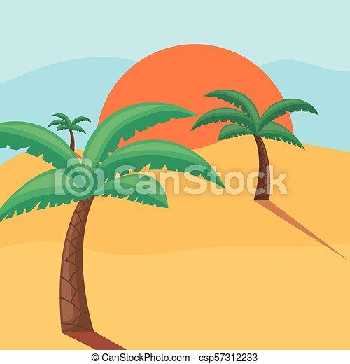 Praia Desenho Paisagem Palmas Coloridos Ilustracao Tropicais