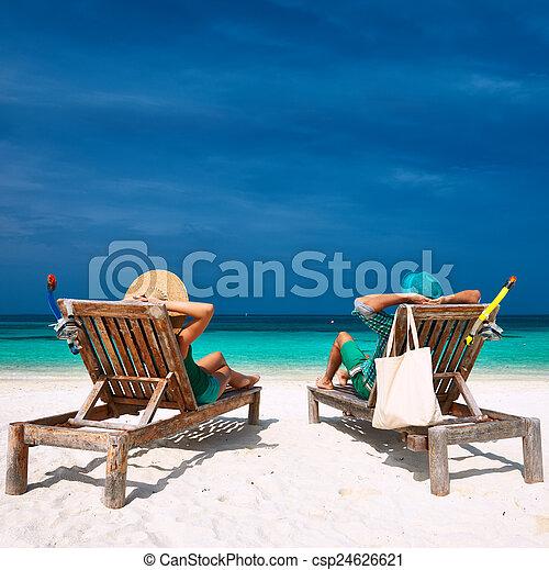 praia, par, maldives, verde, relaxe - csp24626621