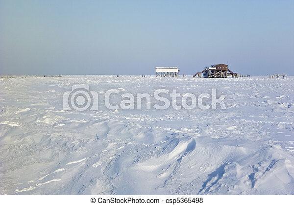 praia, st., peter-ording, inverno - csp5365498