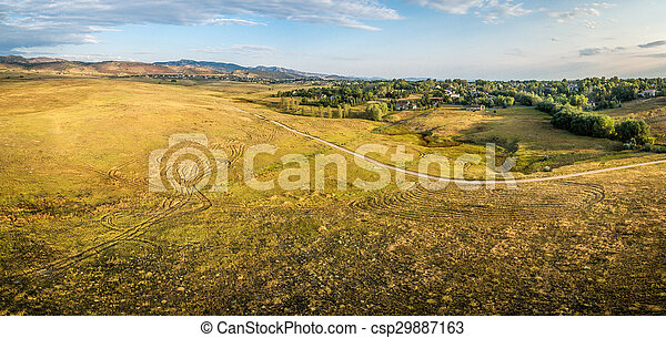 prairie at Colorado foothills - aerial panorama - csp29887163