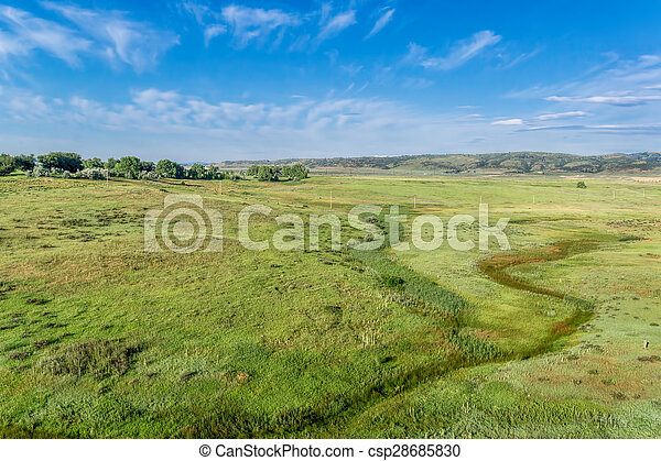 prairie at Colorado foothills - aerial view - csp28685830