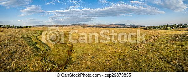 prairie at Colorado foothills - aerial panorama - csp29873835