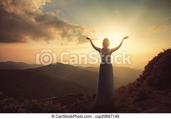 Praising at dusk - csp20697149