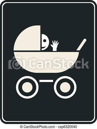 Pram - vector sign, icon - csp6320040